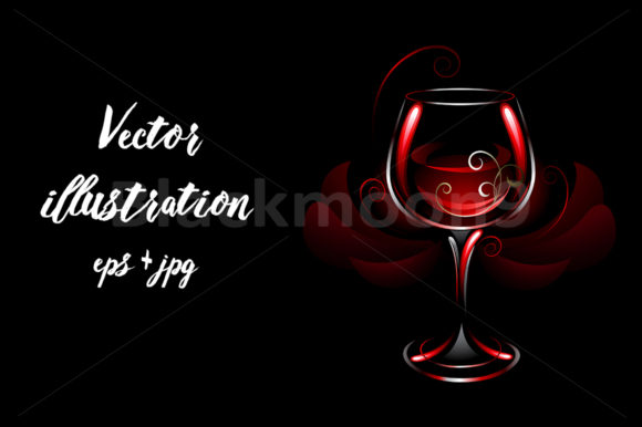 Wineglass of Red Wine Graphic Illustrations By Blackmoon9