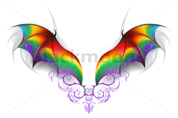 Wings of Rainbow Dragon Graphic Illustrations By Blackmoon9