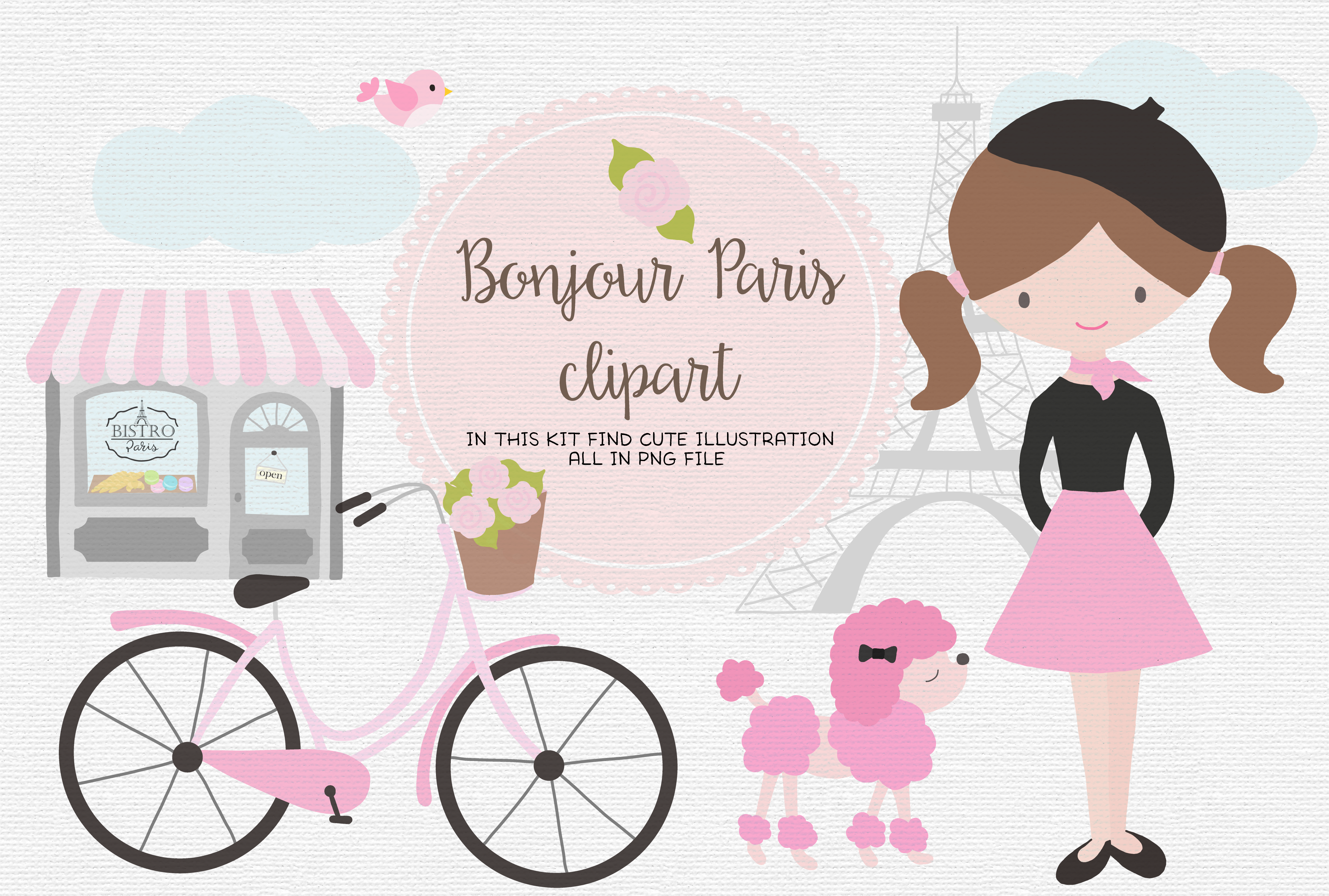 Download Free Bonjour Paris Graphic By Thepaperowl Creative Fabrica for Cricut Explore, Silhouette and other cutting machines.