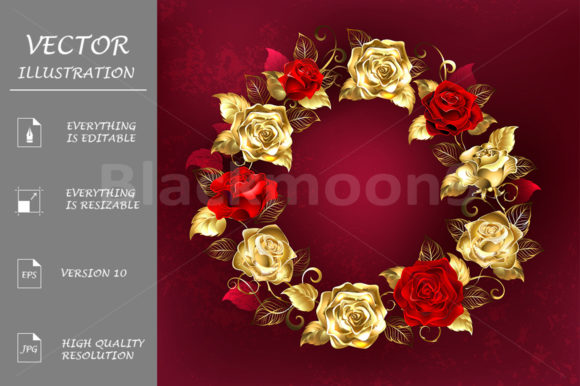 Wreath of Roses on Red Background Graphic Illustrations By Blackmoon9