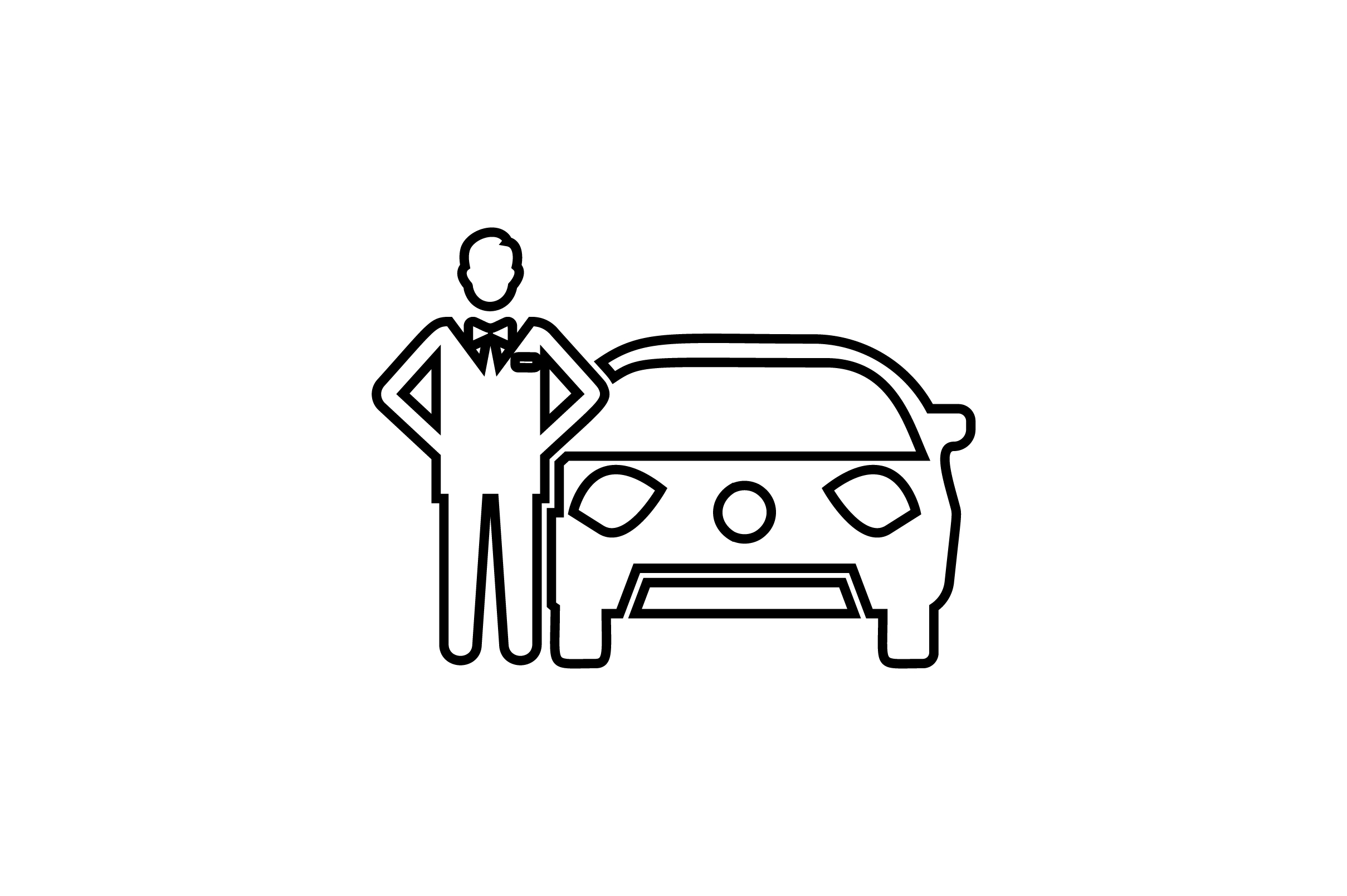 Download Free Man With A Car Line Art Vector Icon Graphic By Riduwan Molla for Cricut Explore, Silhouette and other cutting machines.