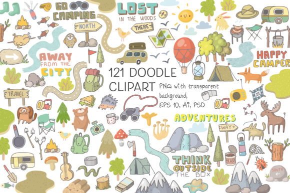 Print on Demand: Camping Clipart, Patterns, Designs Graphic Illustrations By Architekt_AT - Image 4