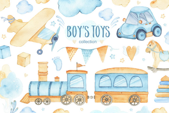 Boy's Toys - Watercolor Collection Graphic Illustrations By Madiwaso