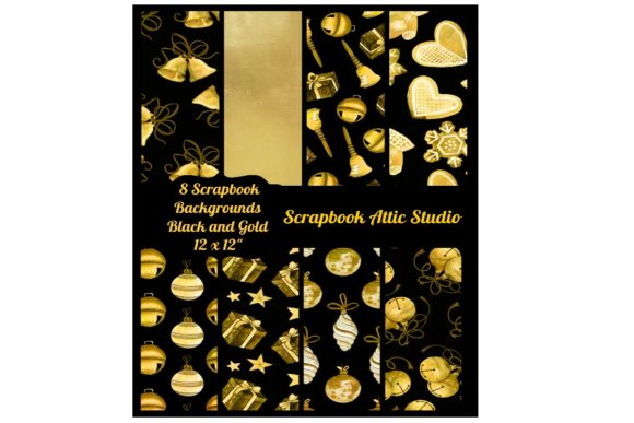 Print on Demand: 8 Black and Gold Holiday Backgrounds Graphic Illustrations By Scrapbook Attic Studio