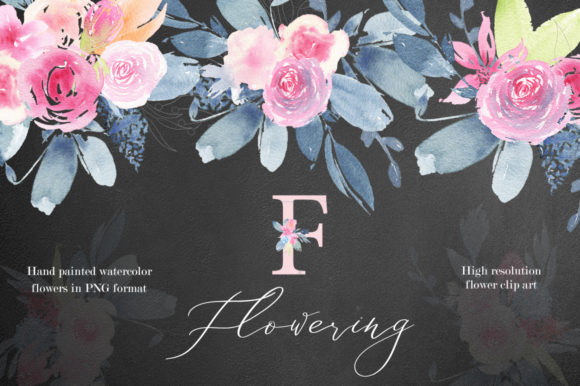 Flowering Watercolor Graphic Set Graphic Illustrations By Madiwaso
