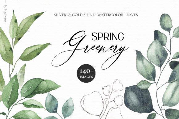 Watercolor Spring Greenery Leaves Graphic Illustrations By Madiwaso
