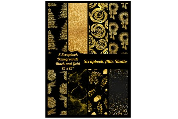 Print on Demand: 8 Black and Gold Holiday Background Graphic Illustrations By Scrapbook Attic Studio