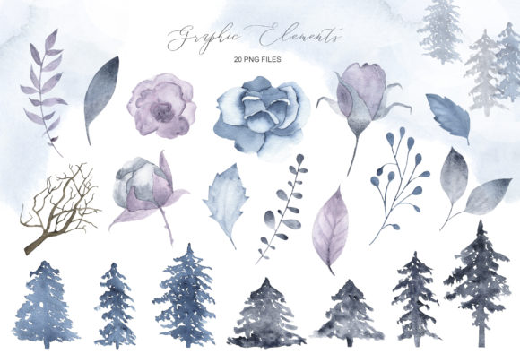 Download Free Winter Wonderland Watercolor Set Graphic By Madiwaso for Cricut Explore, Silhouette and other cutting machines.
