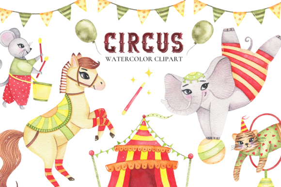 Circus Animals Watercolor Clipart Graphic Illustrations By Madiwaso