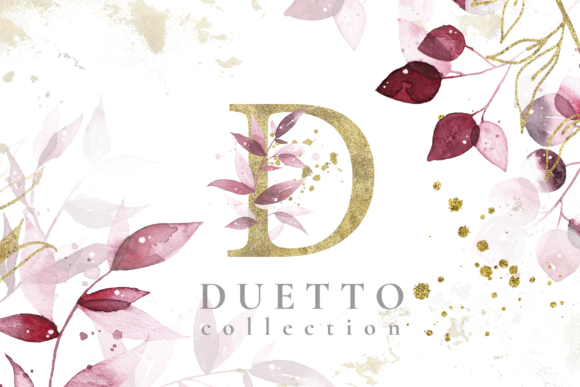 Duetto - Gold Watercolor Leaf Set Graphic Illustrations By Madiwaso