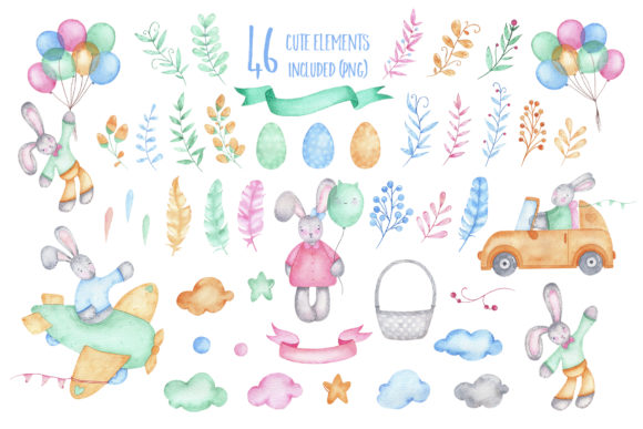 Download Free Happy Easter Watercolor Clipart Grafik Von Madiwaso Creative for Cricut Explore, Silhouette and other cutting machines.