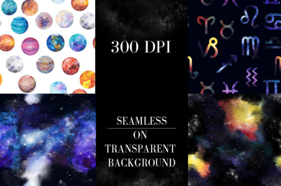 Print on Demand: Watercolor Space, Cosmos Graphic Set Graphic Illustrations By kaleriiatv - Image 12