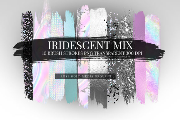 Iridescent Hologram Brushes Graphic Textures By Semora Bleue