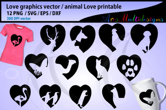 Download Free Love Animal Dog Love Cat Love Graphic By Arcs Multidesigns Creative Fabrica for Cricut Explore, Silhouette and other cutting machines.