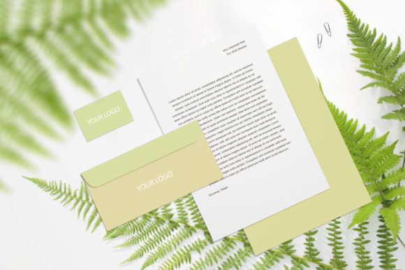 Print on Demand: Stationery Branding Mockup with Fern Graphic Product Mockups By Natalia Arkusha
