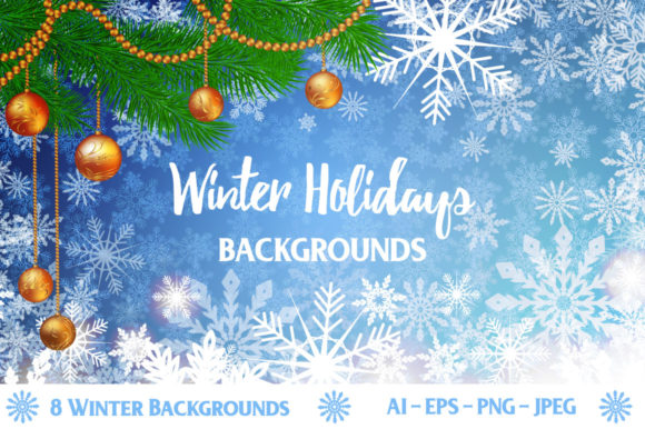 Print on Demand: Winter Holidays Background Grafik Hintegründe von elionorik