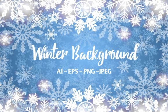 Print on Demand: Winter Blue Background Graphic Backgrounds By elionorik