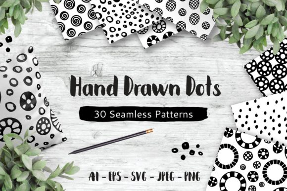 Print on Demand: Hand Drawn Dots, 30 Seamless Patterns Graphic Patterns By elionorik