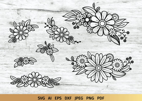 Download Free Floral Doodles Bouquet Graphic By Elinorka Creative Fabrica for Cricut Explore, Silhouette and other cutting machines.