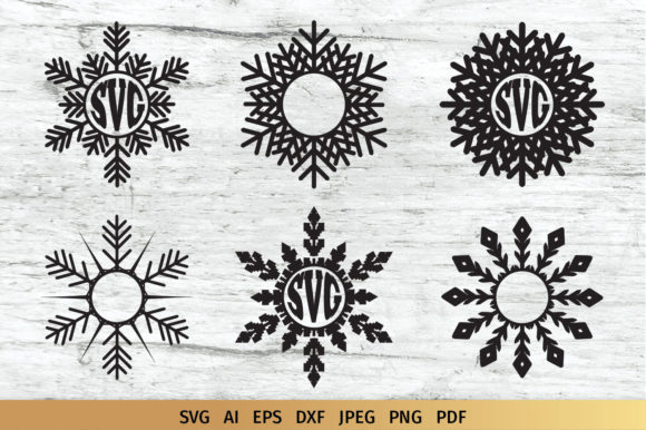 Download Free Snowflake Split Monogram Graphic By Elinorka Creative Fabrica for Cricut Explore, Silhouette and other cutting machines.