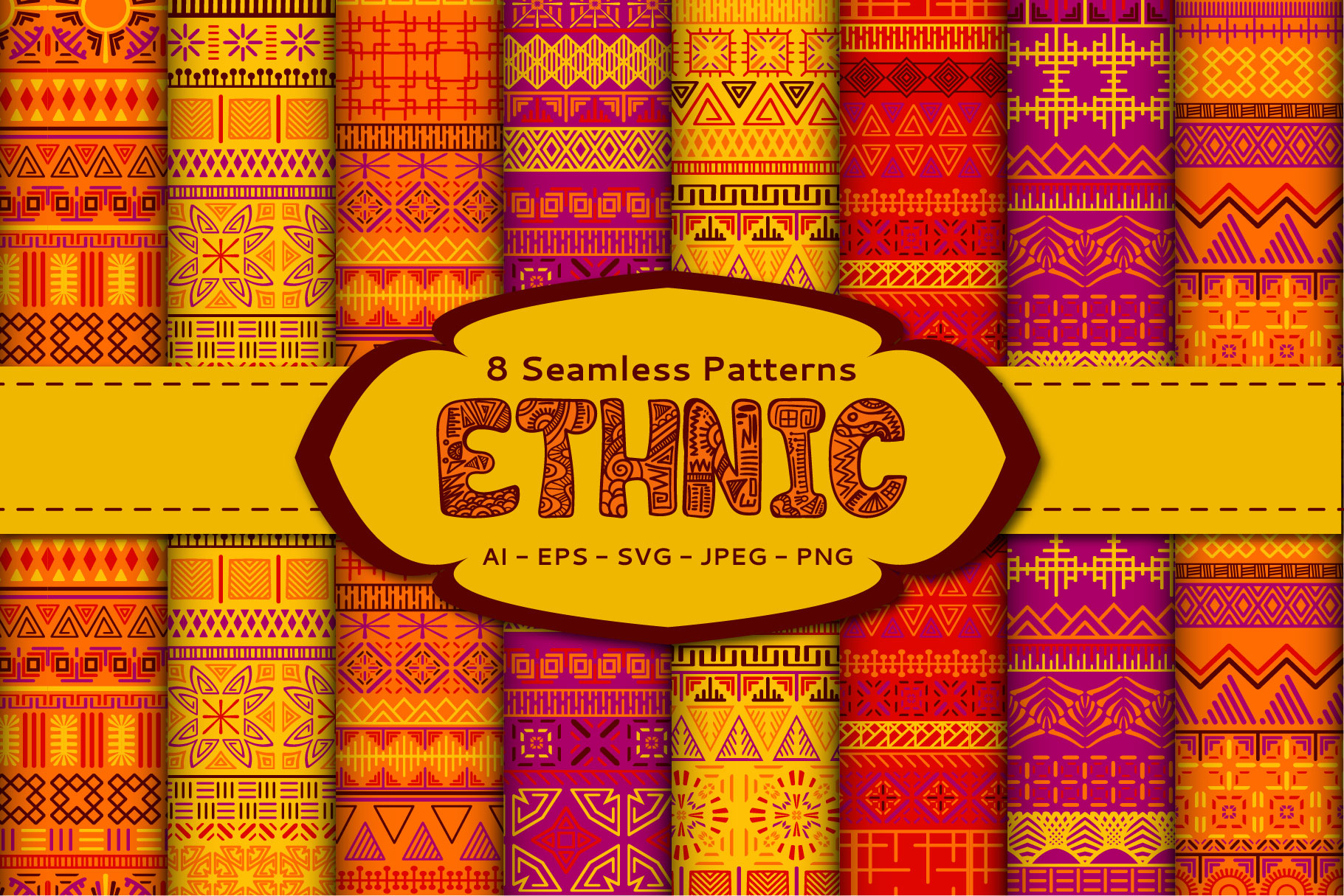 Download Free Ethnic Seamless Patterns Graphic By Elinorka Creative Fabrica for Cricut Explore, Silhouette and other cutting machines.