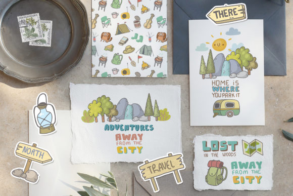 Print on Demand: Camping Clipart, Patterns, Designs Graphic Illustrations By Architekt_AT - Image 2
