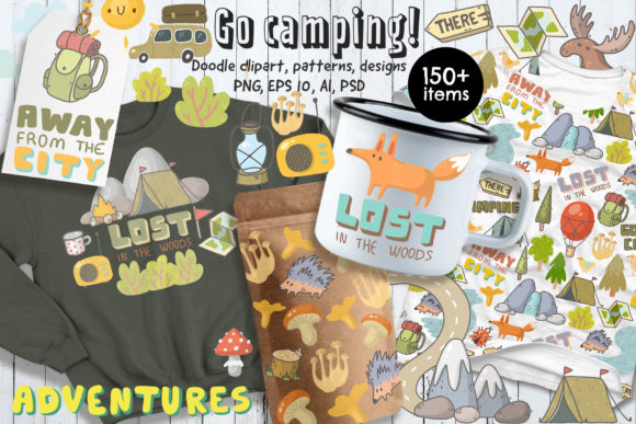 Print on Demand: Camping Clipart, Patterns, Designs Grafik Illustrationen von Architekt_AT