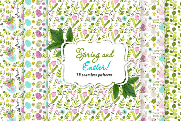 Spring and Easter Patterns! Graphic Illustrations By Nafanya