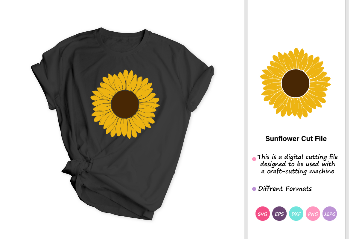 Download Free Hand Drawn Sunflower Graphic By Iprintasty Creative Fabrica for Cricut Explore, Silhouette and other cutting machines.
