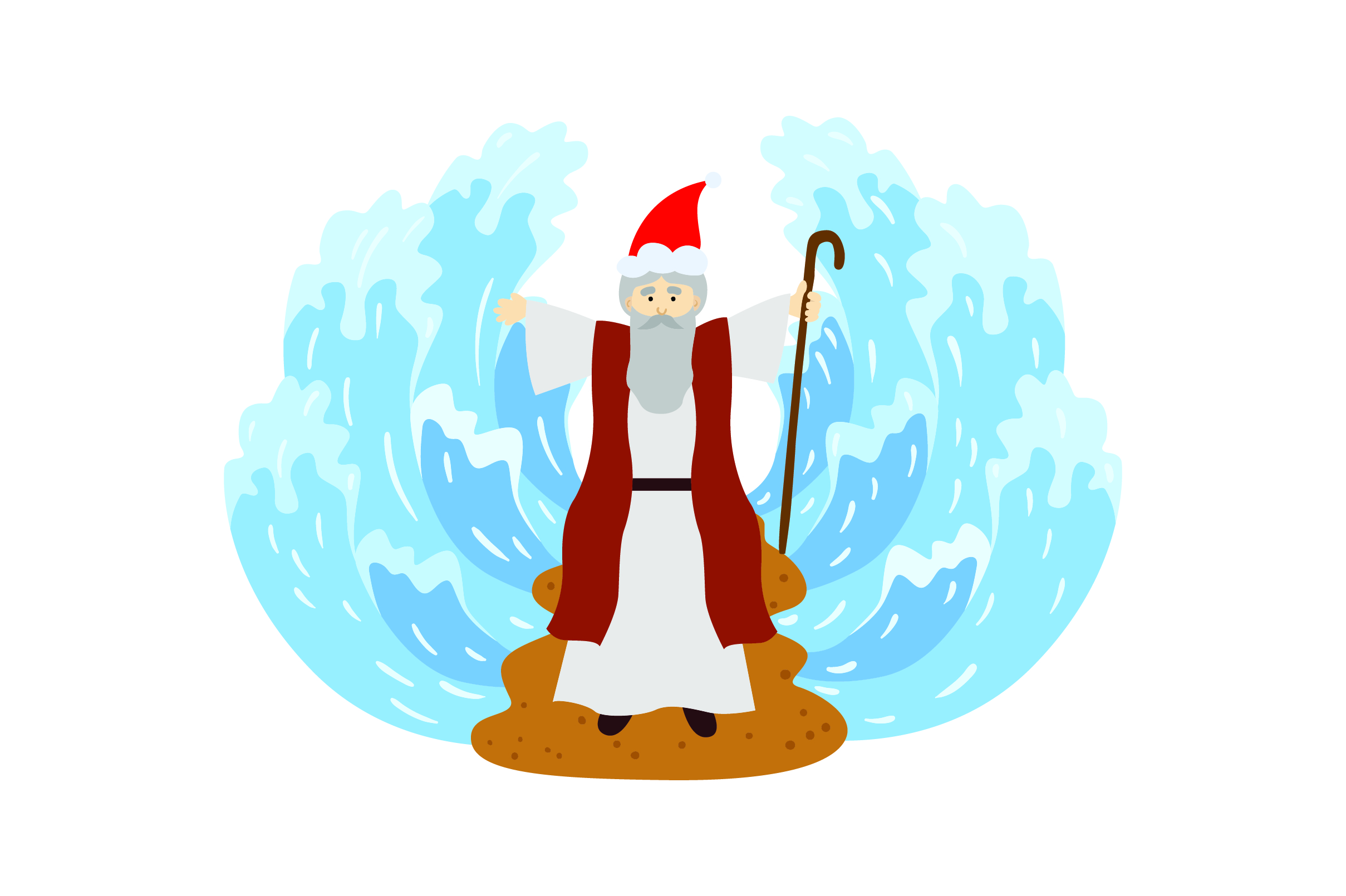Download Free Moses Parting The Sea With Santa Hat Svg Cut File By Creative for Cricut Explore, Silhouette and other cutting machines.