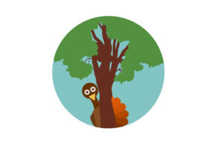 Turkey Hiding Behind Tree Thanksgiving Craft Cut File By Creative Fabrica Crafts