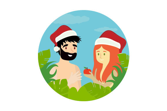 Download Free Adam Eve With Santa Hats Svg Cut File By Creative Fabrica for Cricut Explore, Silhouette and other cutting machines.
