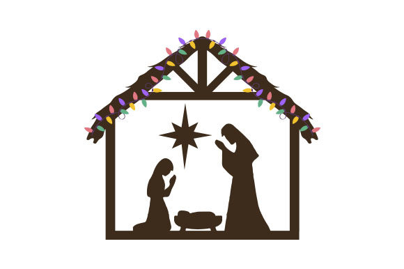 Nativity Scene with Christmas Lights Cut File