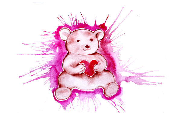 Download Free Teddy Bear Holding Heart In Watercolor Splatter Style Svg Cut for Cricut Explore, Silhouette and other cutting machines.