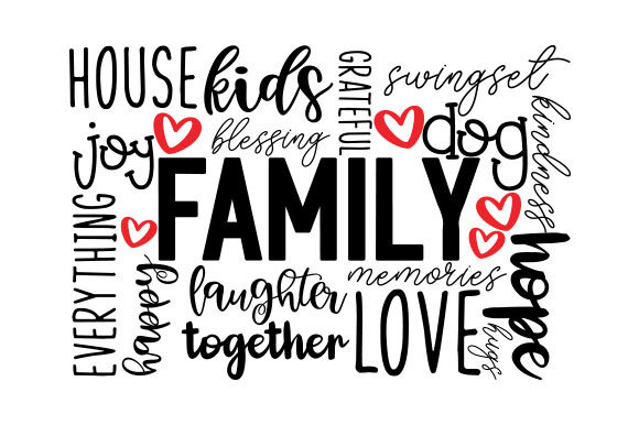 Family Word Art Subway Art Archivo de Corte Craft Por Creative Fabrica Crafts
