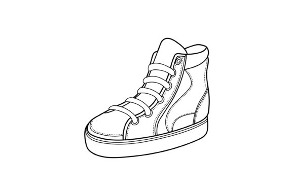 Print on Demand: Vector Design of Sneakers Outline Graphic Icons By sabavector