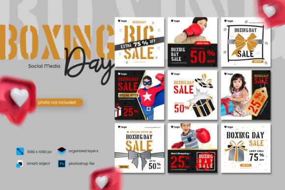 Print on Demand: Boxing Day Sale Social Media Template 2 Graphic Websites By diqtam