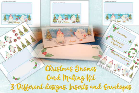 Print on Demand: Christmas Gnome Card Making Kit 3 Design Graphic Crafts By The Paper Princess - Image 1
