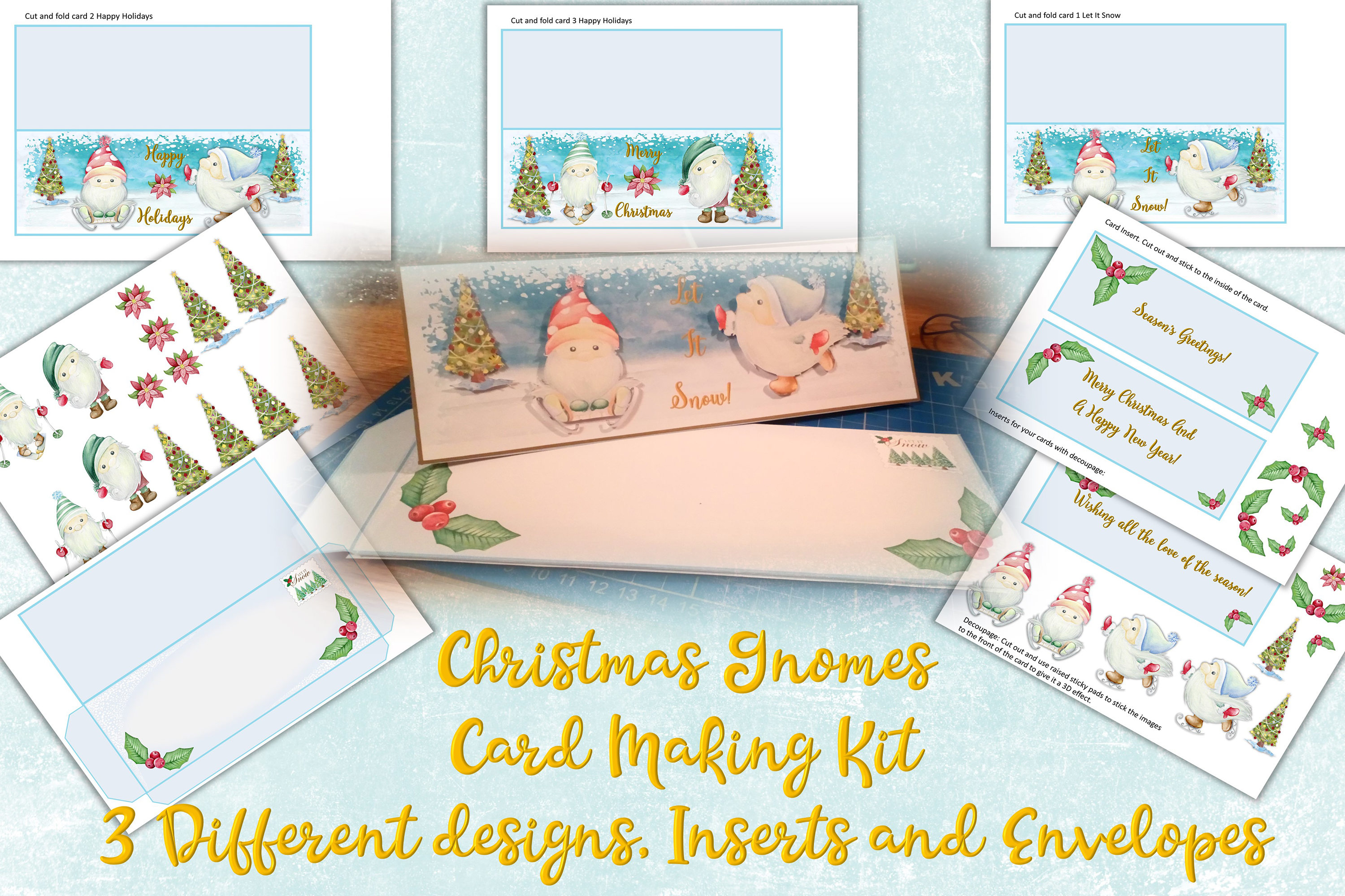 Download Free Christmas Gnome Card Making Kit 3 Design Graphic By The Paper for Cricut Explore, Silhouette and other cutting machines.