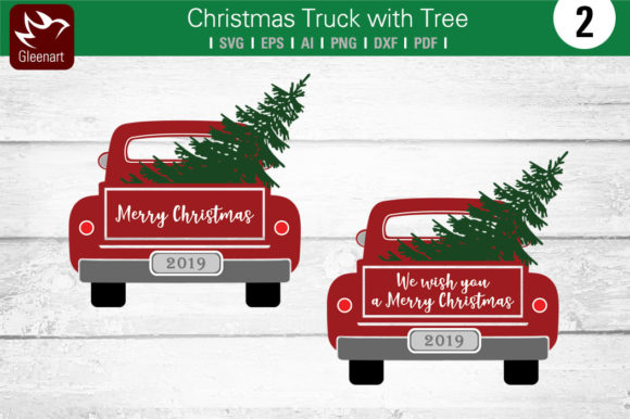 Christmas Truck with Tree Graphic Illustrations By Gleenart Graphic Design