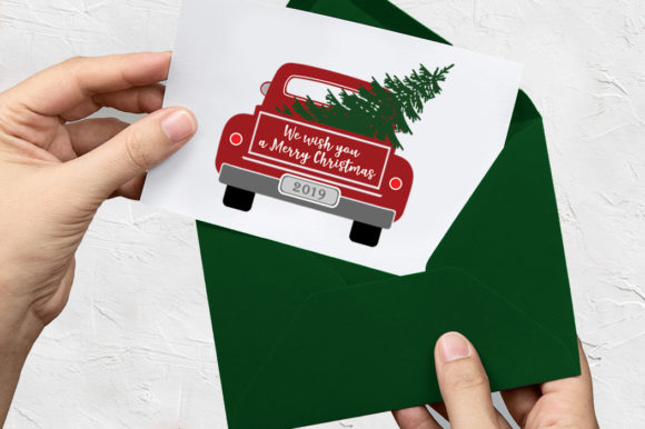 Christmas Truck with Tree Graphic Illustrations By Gleenart Graphic Design - Image 2