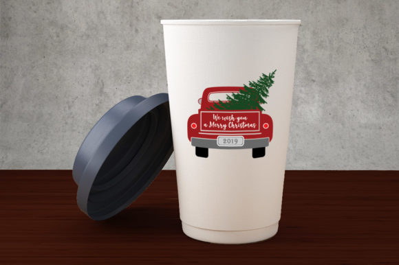Christmas Truck with Tree Graphic Illustrations By Gleenart Graphic Design - Image 6