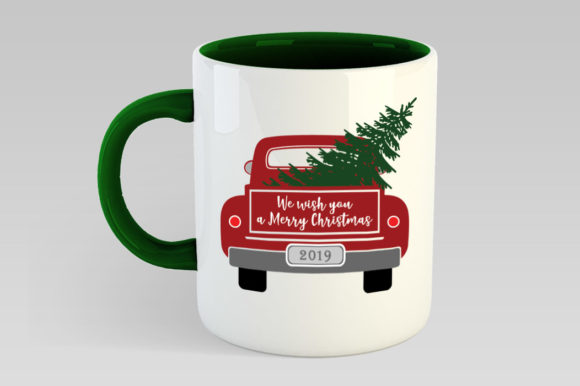 Christmas Truck with Tree Graphic Illustrations By Gleenart Graphic Design - Image 4
