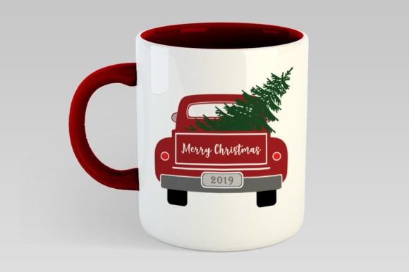 Christmas Truck with Tree Graphic Illustrations By Gleenart Graphic Design - Image 5