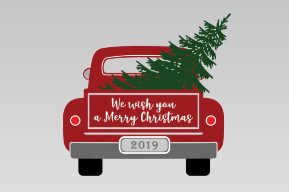 Christmas Truck with Tree Graphic Illustrations By Gleenart Graphic Design - Image 7