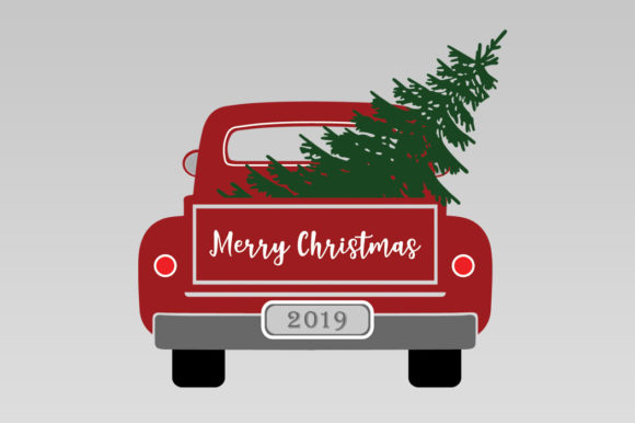 Christmas Truck with Tree Graphic Illustrations By Gleenart Graphic Design - Image 8
