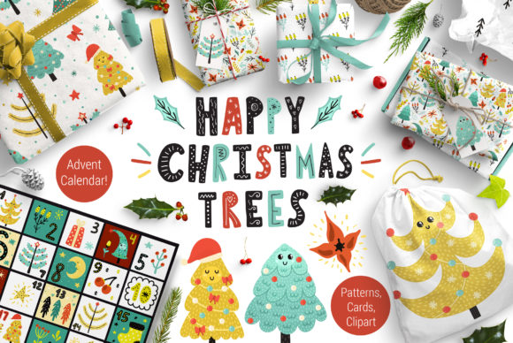 Happy Christmas Trees Collection Grafik Illustrationen von jsabirova