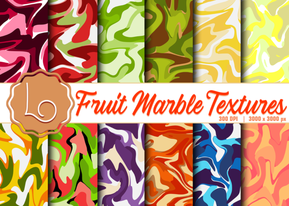Print on Demand: Fruit Marble Textures Graphic Textures By La Oliveira