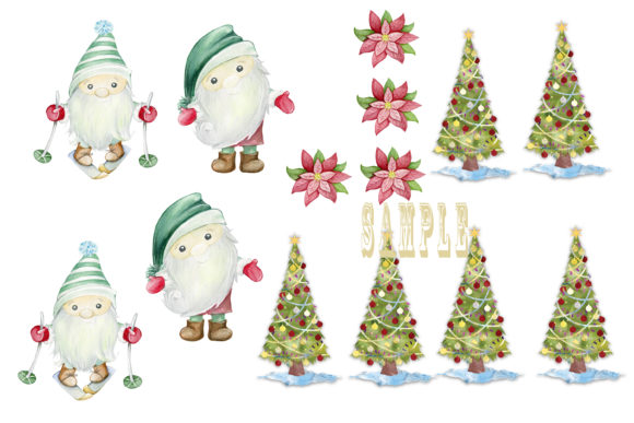 Print on Demand: Christmas Gnome Card Making Kit 3 Design Graphic Crafts By The Paper Princess - Image 7