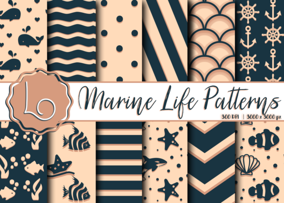 Download Free Marine Life Sea Patterns Graphic By La Oliveira Creative Fabrica for Cricut Explore, Silhouette and other cutting machines.